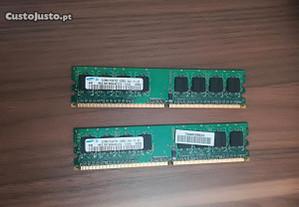 2 Memorias Ram Ddr2 512mb SAMSUNG