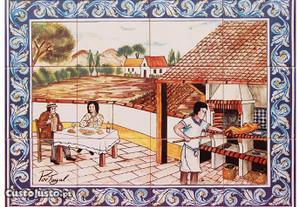 Painel de Azulejos Churrasqueira Churrasco Quadro