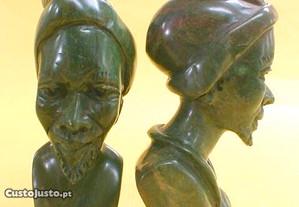 Escultura busto diverso verdite 13x5,5x6cm