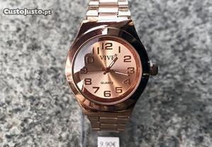 Relógio analógico para senhora em metal -Rose Gold