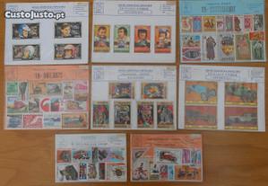 Vários conjuntos temáticos de selos