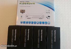 Kit dvr 4 canais 4 cameras gravador digital video