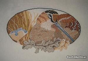 Quadro do pato bravo em ponto cruz (oval)