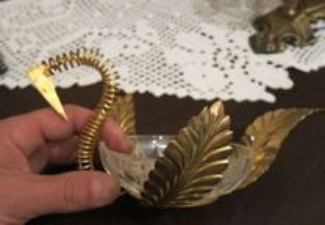 cisne em cristal banhado a ouro BAIXOU