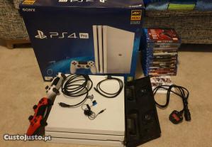 PS4 Pro branca 1TB com 13 Jogos e 2 comandos