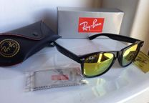 Óculos Ray Ban Wayfarer RB2140 Pretos Espelhados