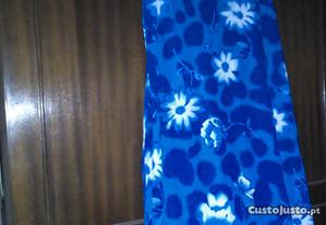vestido azul c/flores comprido c/etiqueta L
