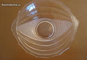 Aneleira em Vidro Rosa Trabalhada antiga 12 cm