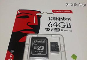 Cartão de Memória Kingston de 16GB / 32GB/ 64GB