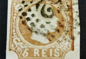 Selo Portugal 1856/8-Af. 10 Castanho Amarelo Usado