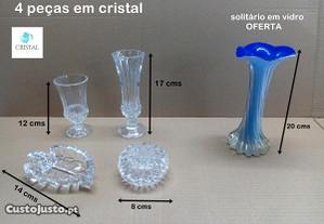 Conjunto quatro peças em cristal + oferta