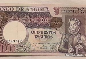 Nota 500$00 (Escudos), Banco de Angola, 1973