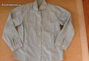 Camisa riscas verde,100% algodão,giríssima