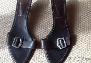 Sandálias italianas castanhas em pele,Nº 40