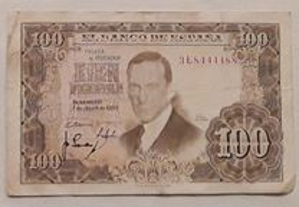 Nota 100 Pesetas, Espanha, 1953