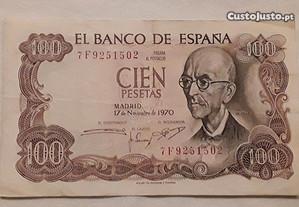 Nota 100 Pesetas, Espanha, 1970