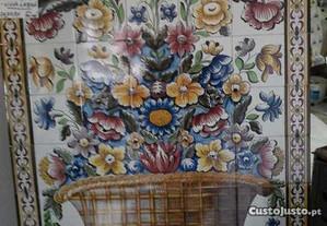 Quadro cesto com flores Viuva de lamego