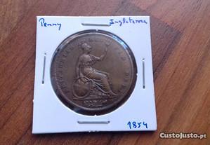 Moeda Penny 1854 Inglaterra - Excelente!