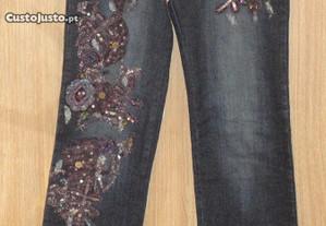 Calças de senhora em ganga com flores Rosa & Rose