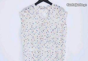 Blusa às bolinhas Zara, tamanho S (também veste M)