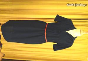 Vestido azul manga curta meia estação