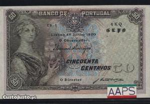 Espadim - Nota de 50 Centavos de 1920 - 4 KQ