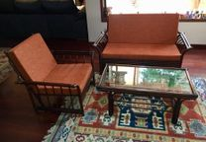 2 sofás e mesa de centro vintage em Bambú