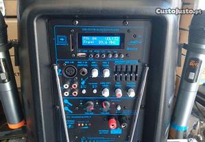 Colunas NOVAS Recarregáveis c/2 Microfones Sem Fio Oqan QLS-12 Travel