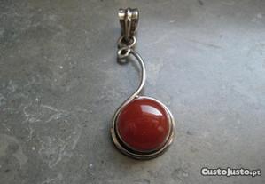 Pendente prata e pedra ágata cornalina (NOVO)