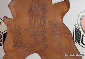 Placa Decor Artesanal Pintada em Pele