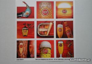 Conjunto de 9 stickers/autocolantes Super Bock