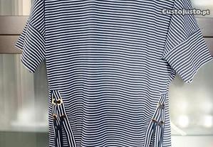 Blusa azul navy com ilhós MASSIMO DUTTI tamanho S