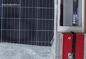 Painel solar com bateria gel 100 amp.