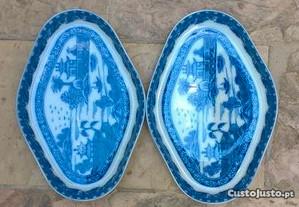 2 Pratinhos de louça azul e branco- portes grátis