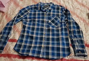camisa azul com quadrados tamanho M