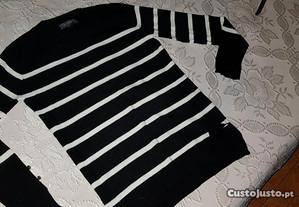 Camisola preta e branca com riscas - tamanho M