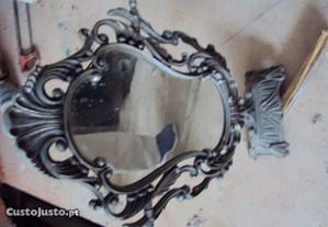 espelho antigo muito lindo em latao branco