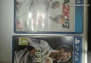 Jogos FIFA18 e NBA 2K18 para consola PS4