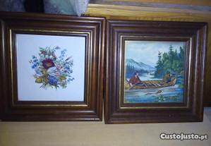 2 quadros azulejo c/flores e paisagem