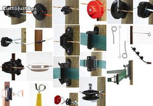 Isoladores para fio, cordão ou fita eléctrica,