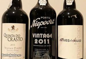 3 garrafas de vinho do porto vintage 2011