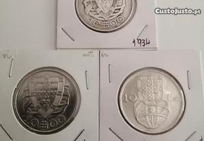 3 moedas de prata de 10 escudos caravelas