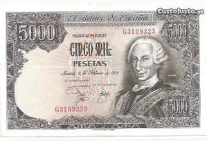 Espadim - Nota de 5.000 Pesetas de 1976 - Espanha