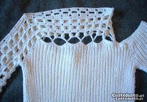 Camisola Glamour cor branco pérola tamanho S-Nova