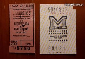 Bilhetes antigos de transportes públicos de Lisboa