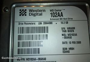 disco IDE 10 gb Western Digital Baixou