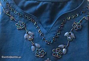 Camisola c/ aplicações, azul, 100% algodão - L