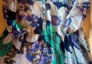 Túnica algodão com flores tamanho M