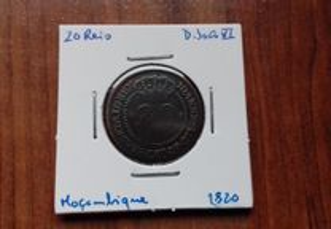 Moeda 20 Reis 1820 D. João VI - Moçambique