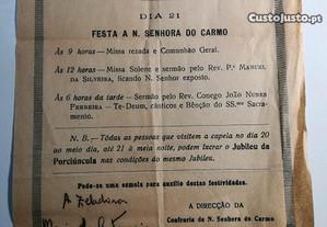 Folheto Festa a Nossa Senhora do Carmo -junho 1940